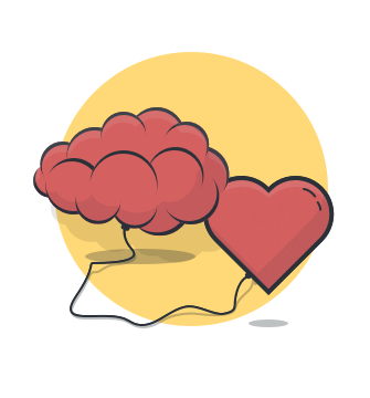 cartoon of a brain connected to a heart